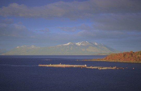 Centro de cultivo de salmones en la región de Magallanes y de la Antártica Chilena