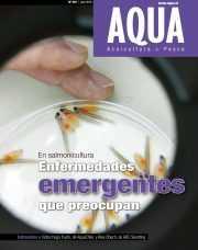 """Portada de Revista AQUA 216 titulada """"En salmonicultura: Enfermedades emergentes que preocupan"""""""