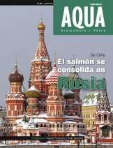 """Portada de Revista AQUA 217 que se titula """"De Chile: El salmón se consolida en Rusia"""""""